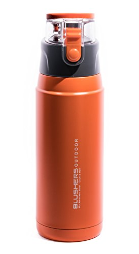 Blushers 600ml (20.3oz) Double Wall Vacuum Insulated 304 Stainless Steel To Go Travel Mug, One Touch Lock Lid Thermos Water Bottle (Orange)
