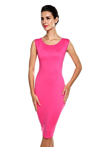ANGVNS Women's Classic Slim Fit Sleeveless Pencil Party Midi Dress