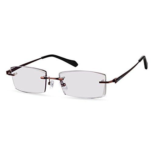 LifeArt Blue Light Blocking Rimless Glasses with Diamond,Computer Reading Glasses,Reduce Headaches&Eyestrain,Stylish for Women/Men +1.50