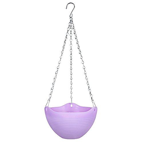 Mkono Hanging Flower Plant Pot Chain Basket Planter Holder 1pcs-Purple