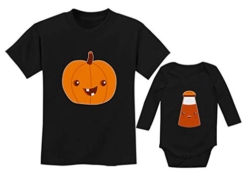 Siblings Pumpkin Spice Matching Halloween Set Easy Costume Shirt & Bodysuit Kids Pumpkin Black Medium/Baby Spice Black 6M (3-6M) ()
