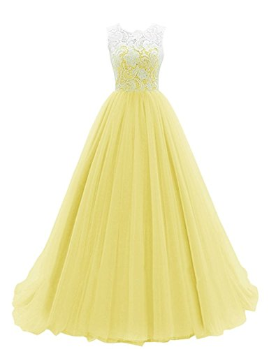Yougao Women's Lace Long Evening Gowns Party Dresses Tulle Prom Homcoming Dress US 8 Yellow
