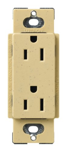 Lutron SCR-15-GS Satin Colors 15A Electrical Socket Duplex Receptacle, Goldstone