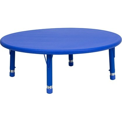 (Offex 45'' Round Height Adjustable Blue Plastic Activity Table)