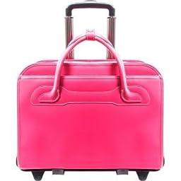 McKlein WILLOWBROOK Fuchsia Detachable-Wheeled Ladies\' Briefcase (94983)