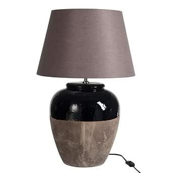 Lámpara de pie de cerámica y pantalla azul gris: Amazon.es ...