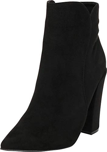 Cambridge Select Women's Pointed Toe Western Chunky High Heel Ankle Bootie,9 B(M) US,Black ()