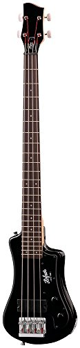 Hofner HCT-SHB-BK-O Shorty Electric Travel Bass Guitar with Gig Bag, Black (Hofner Guitar Tailpiece)