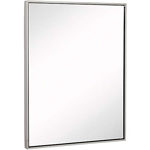 Clean Large Modern Polished Nickel Frame Wall Mirror   Contemporary Premium Silver -