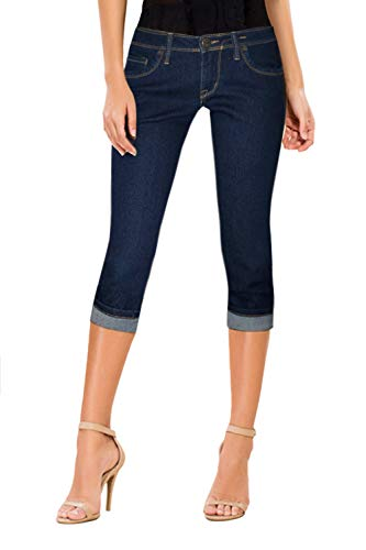 - HyBrid & Company Women's Perfectly Shaping Stretchy Denim Capri-Q22880X-Indigo-16