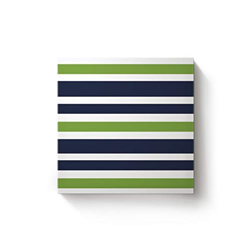 EZON-CH Square Canvas Wall Art Oil Painting Christmas Office Home Decor,Simply Stripe Green Blue and White Pattern Artworks,Stretched by Wooden Frame,Ready to Hang,24 x 24 Inch]()