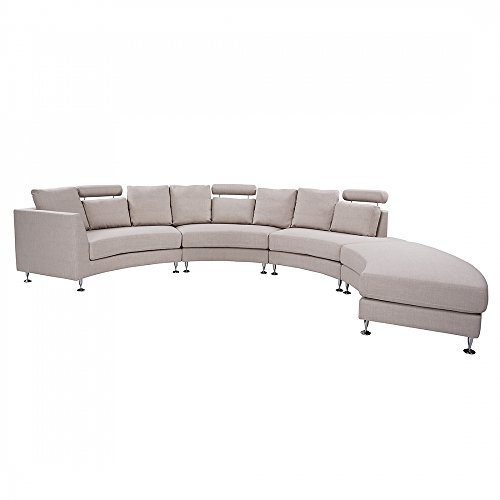 Beliani Round Sectional Upholstered Sofa, Beige