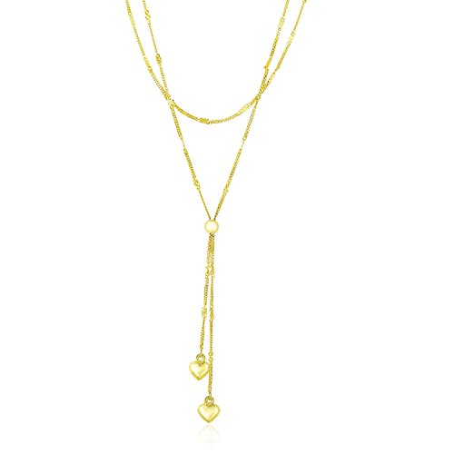 14K Yellow Gold Puffed Heart Lariat Double Strand Necklace Double Puffed Hearts