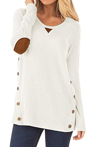 TWKIOUE Tunic with Button, Women's Blouse Casual Long Sleeve Round Neck Side Zip Pullover Sweatshirt Tunic Tops White S