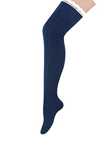 Zando Women's Lace Top Thin Long Cable Knit Over the Knee Thigh High Cosplay Stage Play Socks Boot Socks Navy
