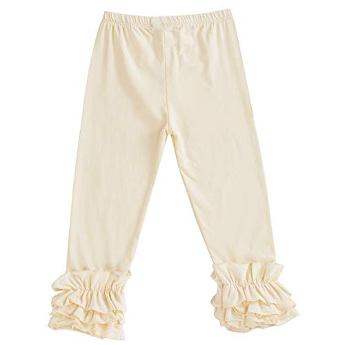Champagne 6 Light - Toddler Baby Girl Ruffle Legging Pant Halloween Christmas Boutique Cotton Long Stripe Flower Trouser with Flare Ruffle Champagne 6 Years