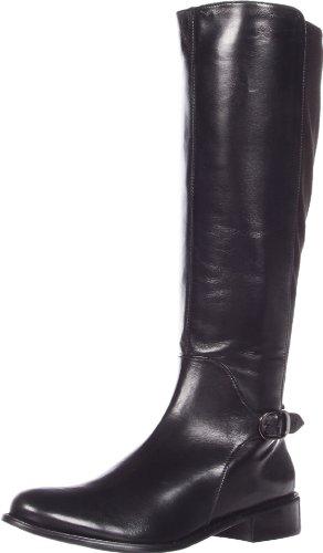 VANELi Women's Rian Riding Boot,Black Nappa/Black Stretch Suede,11 M US