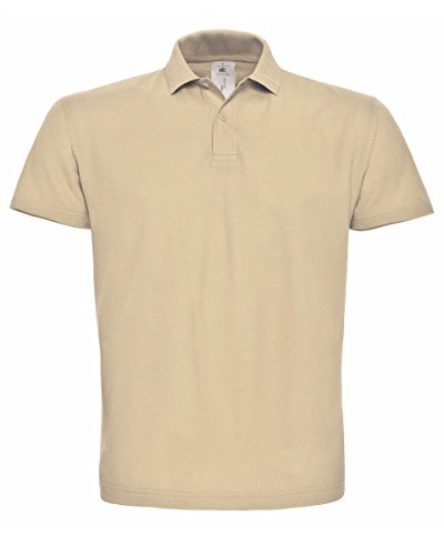 B&C PUI10 Mens Short Sleeve ID.001 Polo Shirt - Sand - 2X-Large