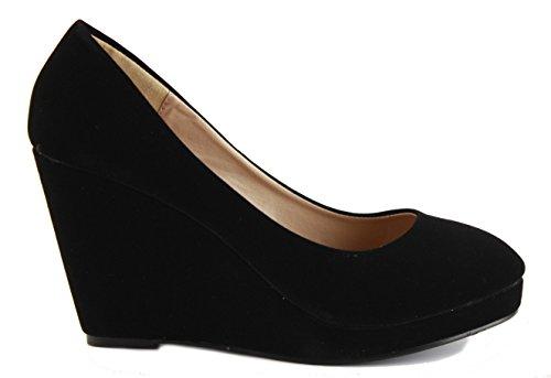 Damas mujer cuña para Cuñas Nuevo Plataforma Zapatos negro inteligentes tacón clásico Trabajo Formal de Bombas 3 alto 8 de Tamaño Court wzwrgxq5