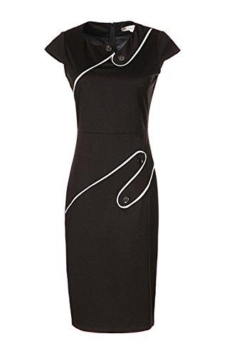 Damen Cap Sleeve Rundhalsausschnitt Vertrag Farbe figurbetonten Business Kleid