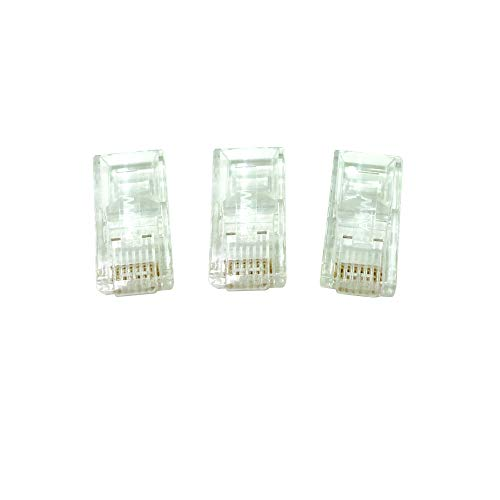 "AJW RJ 45 Modular Plug Copper Jack 100pcs Bulk - Cat.6 UTP Plug Gold Thickness: 50u"" Transparent Color from All Connected"