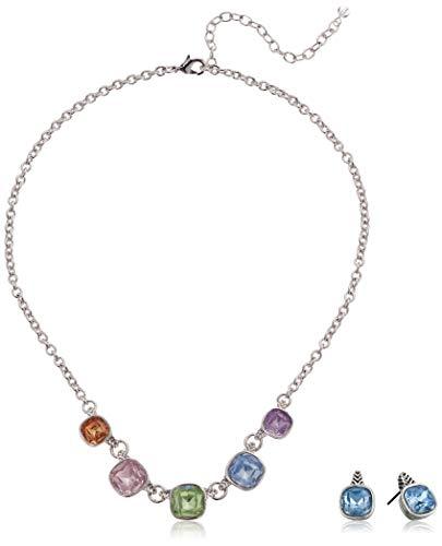 Napier Women's Silver/Rainbow Frontal Necklace Button Earrings Set