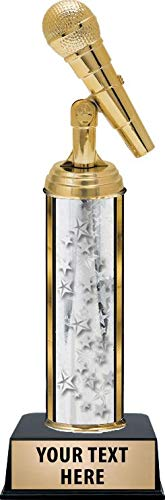 Crown Awards Microphone Trophies, Personalized Silver Microphone Trophy with Custom Engraving Prime -