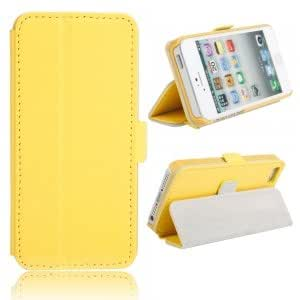 Side Open Leather Protective Case with Button for iPhone 5/5S Yellow