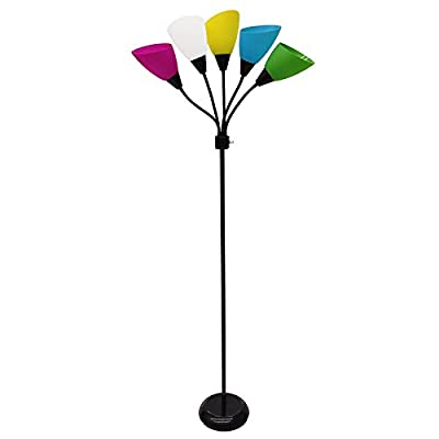 Style Selections 67-in Black 3-way Multi-head Floor Lamp with Plastic Shade