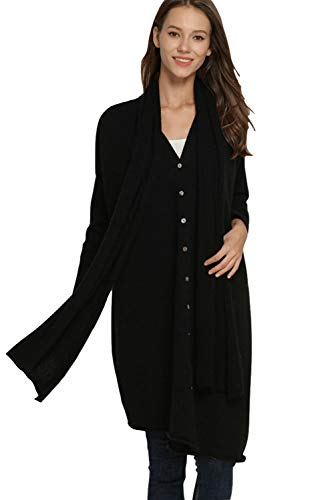 Women's Sweater Cardigans Pure Cashmere Button Down Open Front Long Sleeve Cardigan Sweater Set with Scarf (One Size, Black) ()