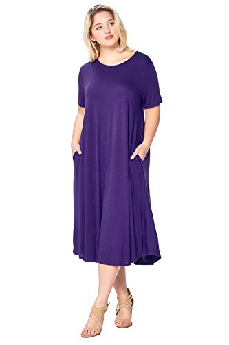 Modern Kiwi Plus Size Short Sleeve Flowy A-Line Pocket Midi Maxi Dress Purple -