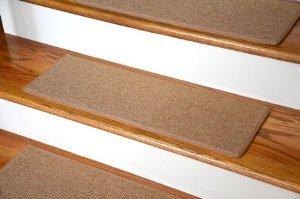 "Dean Non-Slip Tape Free Pet Friendly DIY Carpet Stair Treads/Rugs 27"" x 9"" (15) - Color: Gold"