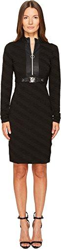 Versace Jeans Women's Belted Zip Front Long Sleeve Dress Nero - Versace Clothing Women
