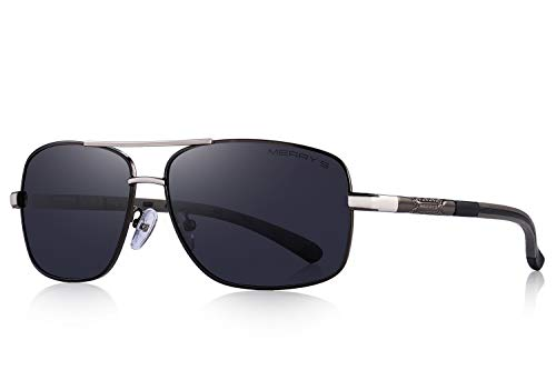MERRY'S Driving Polarized Sunglasses for Men Square 45mm Sun glasses S8714 (Gray, 65)