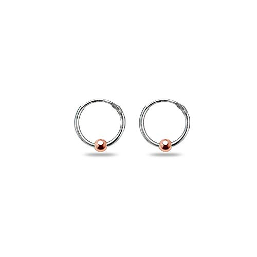 Sterling Silver Two Tone Rose Ball Bead Small Endless 10mm Lightweight Thin Round Unisex Hoop ()