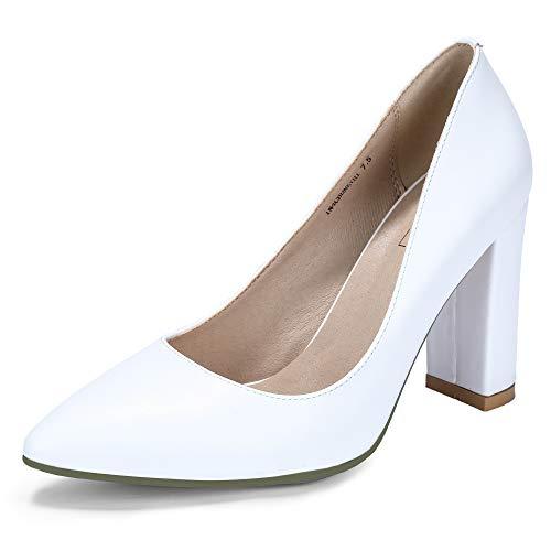 IDIFU Women's IN4 Chunky-HI Classic Closed Pointed Toe Pumps High Chunky Block Heels Dress Office Shoes