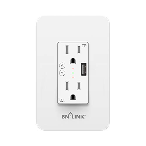 BN-LINK Electrical Outlet In-Wall Smart Wi-Fi Outlet with High Speed 2.1A USB Port - Compatible with Amazon Alexa and Google Assistant - Wireless And Voice Control