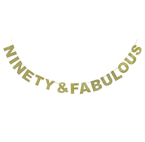 Hatcher lee Ninety & Fabulous Banner Gold Glitter For Wedding Anniversary 90th Birthday 90 Years Old Party Decoration Sign Ideas for $<!--$10.99-->