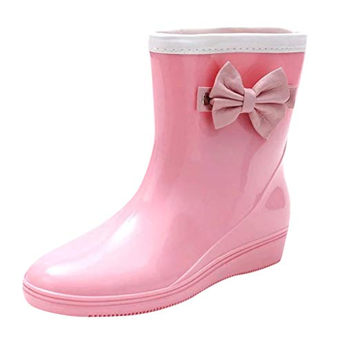 CCFAMILY Womens Fashion Low-Heeled Middle Tube Rain Boots Non-Slip Waterproof Water Shoe Pink