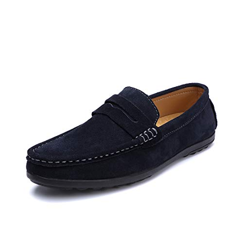 SUNROLAN Men's Suede Leather Bow Accent Moccasins Casual Style Western Penny Loafers Blue (Sunrolan Moccasins For Men)