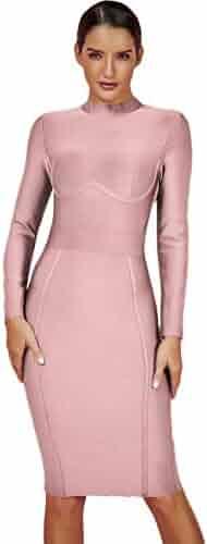 d70bb1460da8 UONBOX Women's Rayon Long Sleeves Midi Fall Winter Night Club Party Bodycon  Bandage Dress