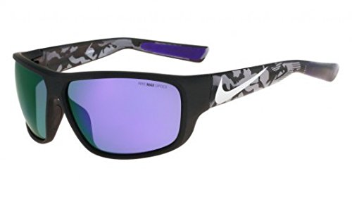 Nike Golf Mercurial 8.0 R Sunglasses, Matte Black/Silver/Anthracite Camo Frame, Grey with Ml Violet Flash - 8.0 Nike Mercurial