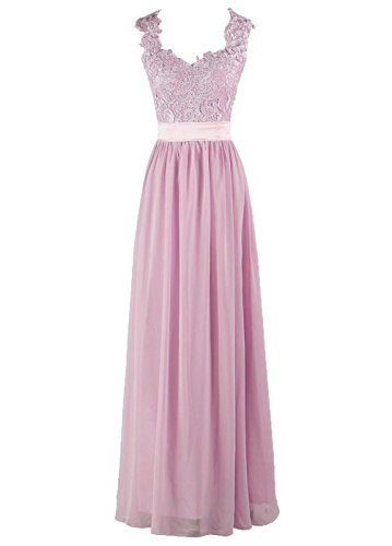 Through Pink Straps Back DYS Dress Length Floor See Bridesmaid Women's Lace nxfvq8B