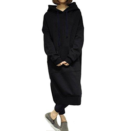 Long Hoodie Sweatshirt,Hemlock Women Loose Sweater Coat Pullover Blouse Tops (5XL, Black) Everything Adult Hoody Sweatshirt