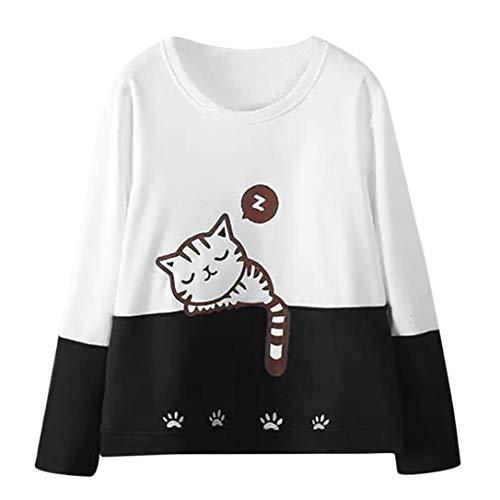 Women Long Sleeve Cat Embroidery Sweatshirt Daoroka Ladies O Neck Jumper Pullover Winter Autumn Tops Fashion Warm Causal Loose Cute Blouse T Shirt -