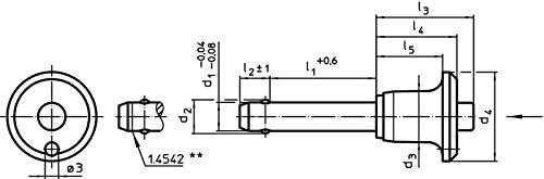 Negro D1/= 5/mm//L1/= 25/mm//acero inoxidable 1.4305 Halder 22340.0215/bola pernos de bloqueo