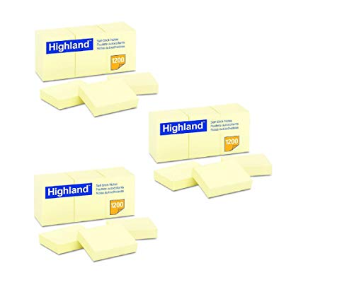 Highland 6539YW Self-Stick Notes, 1 1/2 x 2, Yellow, 100-Sheet (Pack of 36) (Notes Self Yellow Stick)
