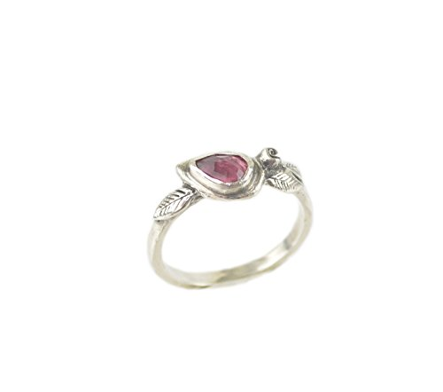 Pink Tourmaline Floral Design - Pink Tourmaline Sterling Silver Rose Leaf Twig Ring Nature Inspired Boho Bohemian Stack Jewelry