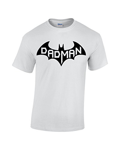 CBTWear Dadman - Super Dadman Bat Hero Funny Premium Men's T-Shirt (X-Large, White) -
