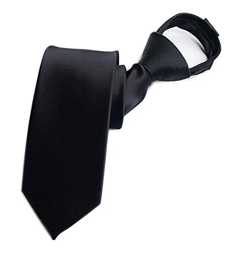 Men's Big Boys Zip Ties Business Wedding Solid Check Stripe Slim Pre-tie Necktie (One Size, Solid Black)